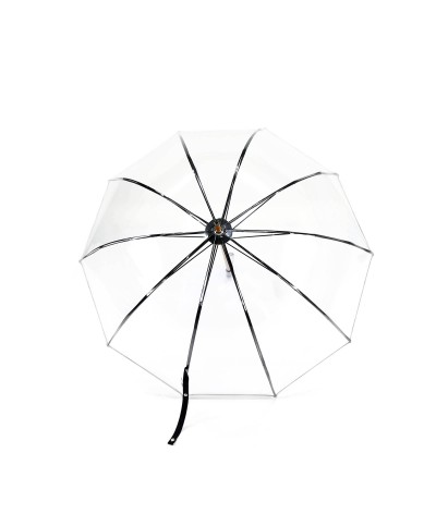 "→ ""Transparent Bell"" Umbrella - Black - Long Manual - Handcrafted in France by Maison Pierre Vaux"