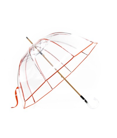 → Parapluie Cloche Transparent - Orange - Made in France