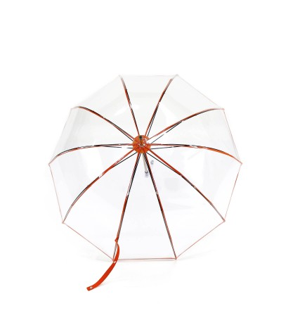 "→  ""Transparent Bell"" Umbrella - Orange - Long Manual - handcrafted in France by Maison Pierre Vaux"