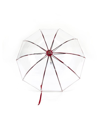"→ ""Transparent Bell"" Umbrella - Red - Long Manual - handcrafted in France by Maison Pierre Vaux"