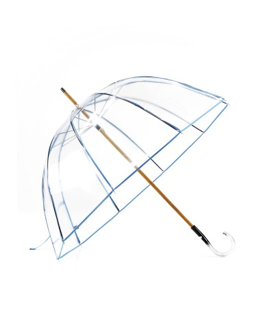 """→ """"Transparent Bell"""" Umbrella - Blue - Long Manual - Handcrafted in France"""