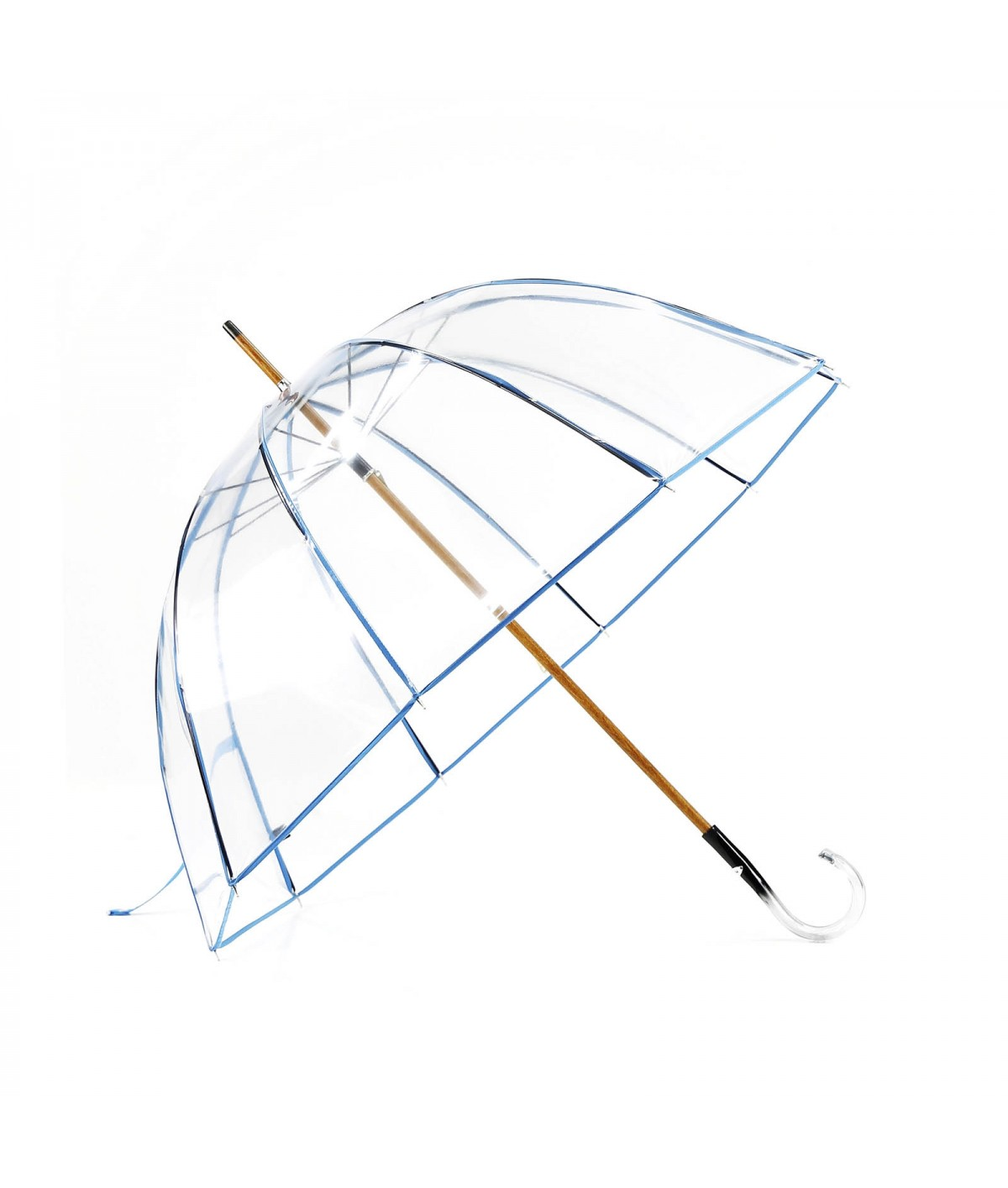 "→ ""Transparent Bell"" Umbrella - Blue - Long Manual - Handcrafted in France"