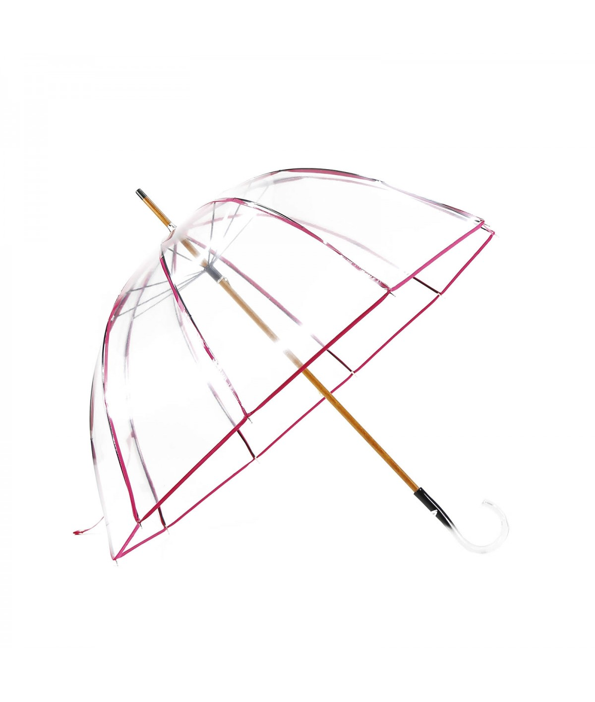 "→  ""Transparent Bell"" Umbrella - Fuchsia - Long Manual - Umbrella Manufacturer"