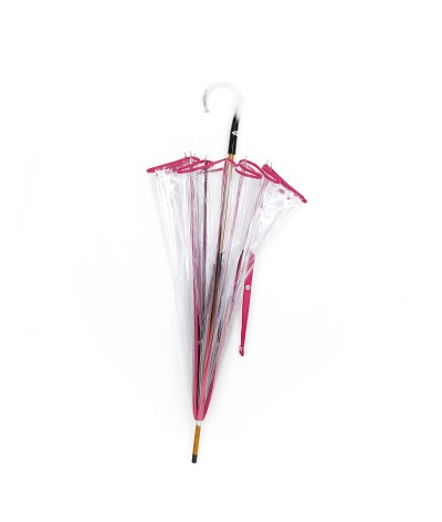 → Parapluie Cloche Transparent - Fuschia - Made in France