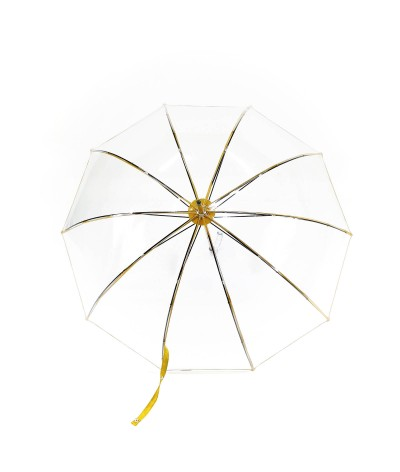 """→ """"Transparent Bell"""" Umbrella - Yellow - Long Manual - Handcrafted in France by Maison Pierre Vaux"""