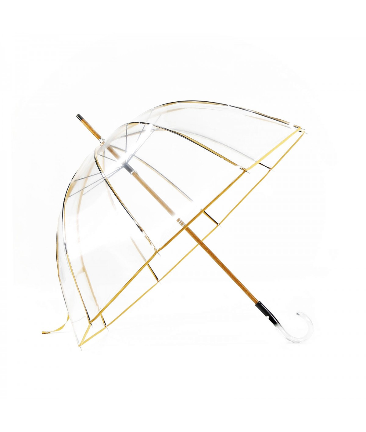 "→ ""Transparent Bell"" Umbrella - Yellow - Long Manual - Handcrafted in France by Maison Pierre Vaux"