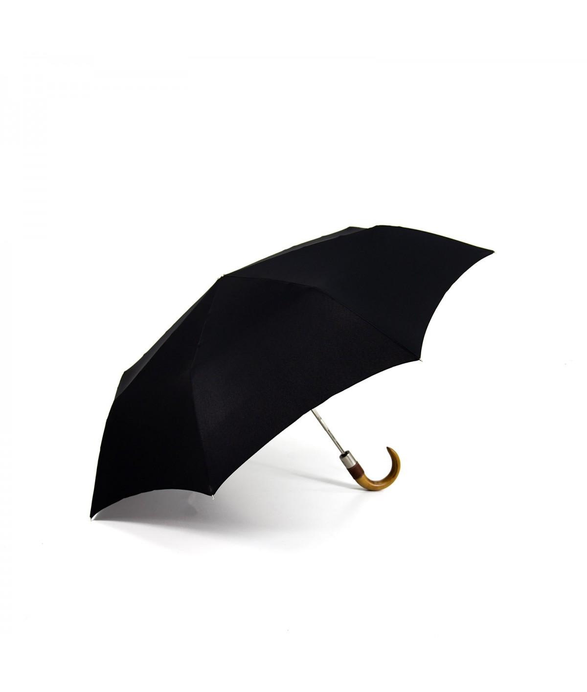 """→ Longchamp - """"Men's Umbrella"""" Black - Mini Automatic - by the French Umbrellas Manufacturer Maison Pierre Vaux"""