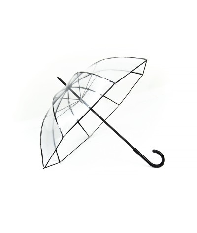 "→ Longchamp Umbrella ""Transparent"" Black - Long manual - by the French Umbrella Manufacturer Maison Pierre Vaux"