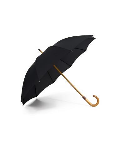"""→ Longchamp """"Classic Homme"""" - Noir -  Parapluie tradionnel Haut de Gamme  - Parasolerie Française"""
