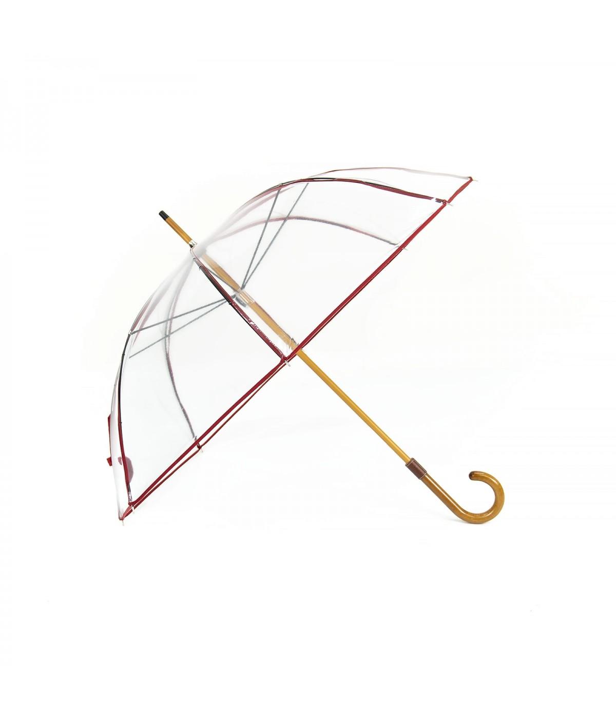 "→ Longchamp Umbrella ""Transparent"" Red - Long manual - by the French Umbrella Manufacturer Maison Pierre Vaux"