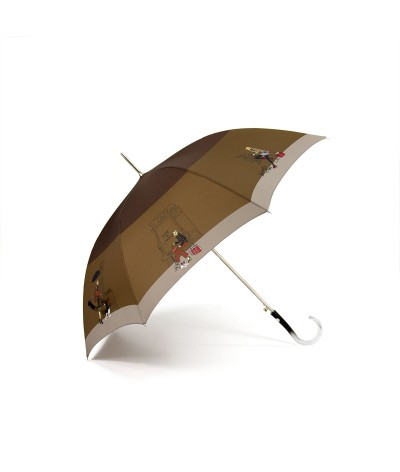 "→ ""Fashion Chic"" Umbrella - Brown - Long automatic -  by the French Umbrella Manufacturer Maison Pierre Vaux"