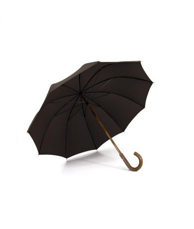 """→ """"The shepherd"""" Umbrella - Chocolate - Long manual - handcrafted in France by Maison Pierre Vaux"""