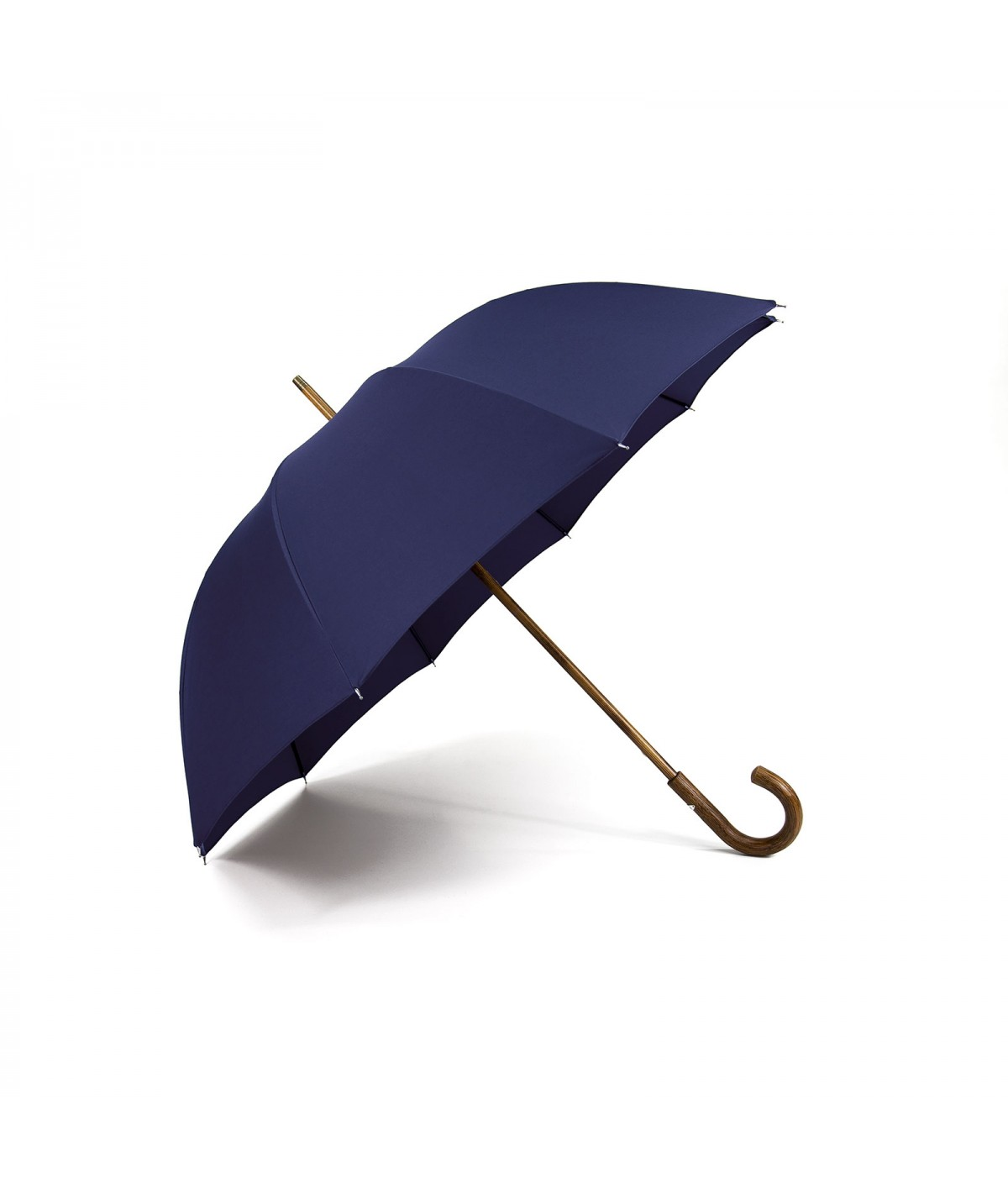 "→ ""The shepherd"" Umbrella - Navy - Long manual handcrafted in France by Maison Pierre Vaux"