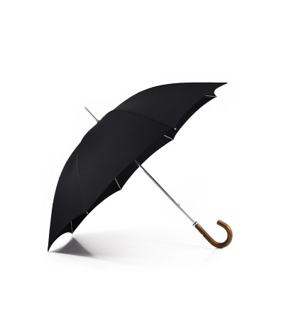 "→ ""The Golf"" Umbrella - Manual - Black - Curved wooden handle - Handcrafted in France by Maison Pierre Vaux"
