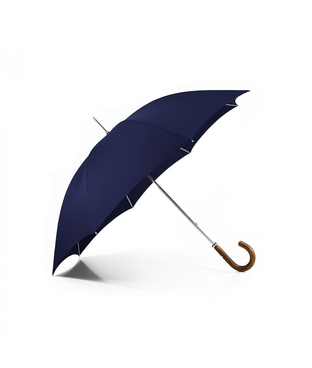 "→ ""The Golf"" Umbrella - Manual - Navy - Curved wooden handle - Handcrafted in France by Maison Pierre Vaux"