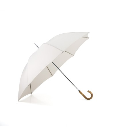"→ ""The Golf"" Umbrella - Manual - Ecru - Curved wooden handle - Handcrafted in France by Maison Pierre Vaux"