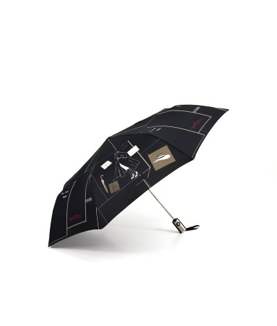 "→ ""New Wave Umbrella"" White - Folding Automatic Opening/Closing - Black by Maison Pierre Vaux French Umbrella Manufacturer"