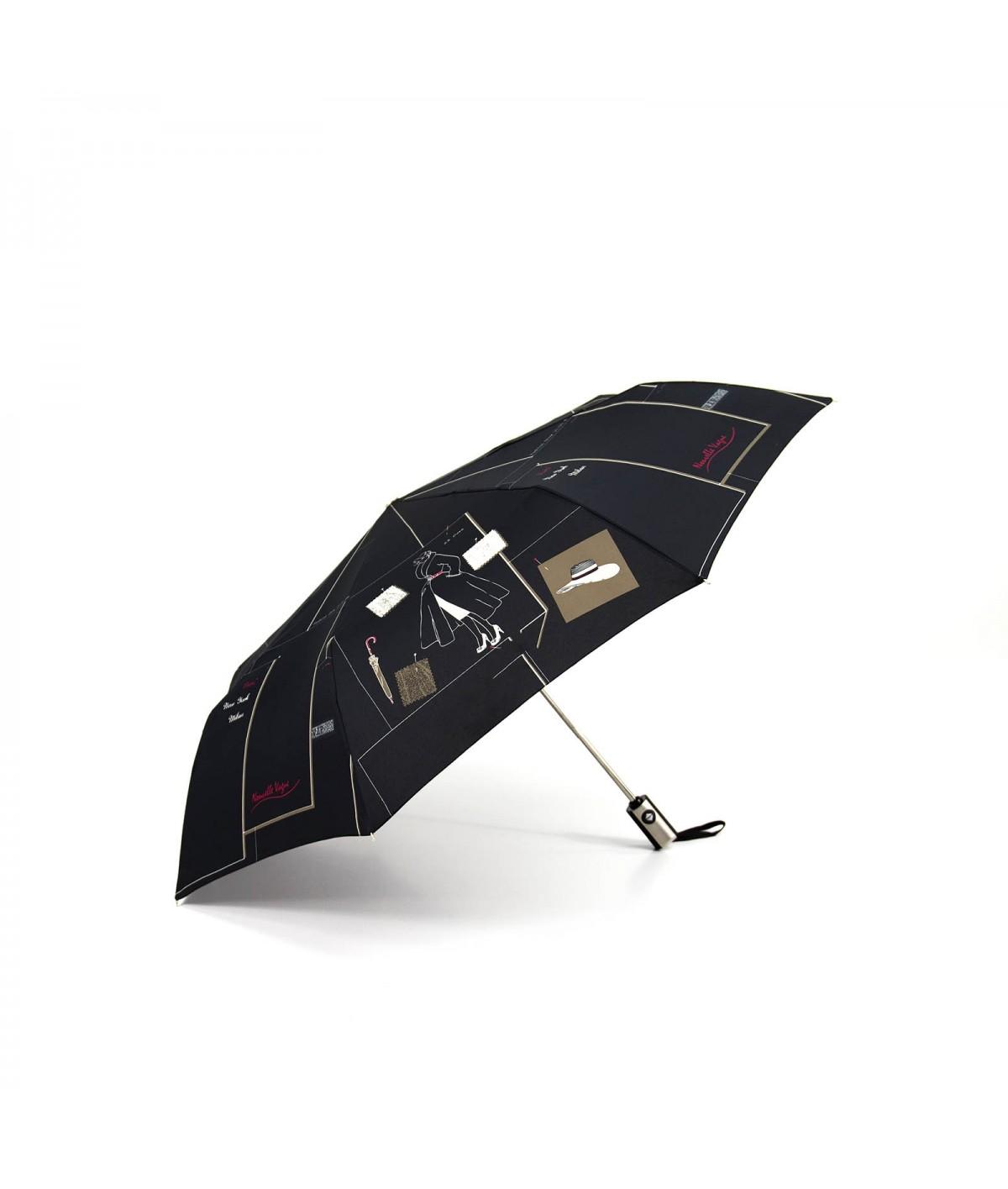 """→ Parapluie """"Nouvelle Vague Pliant"""" - Noir - Parapluie pas Cher pour Femme"""