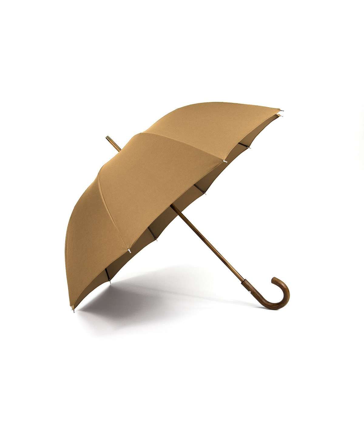 "→ ""The shepherd"" Umbrella - Camel - Long manual - handcrafted in France by Maison Pierre Vaux"