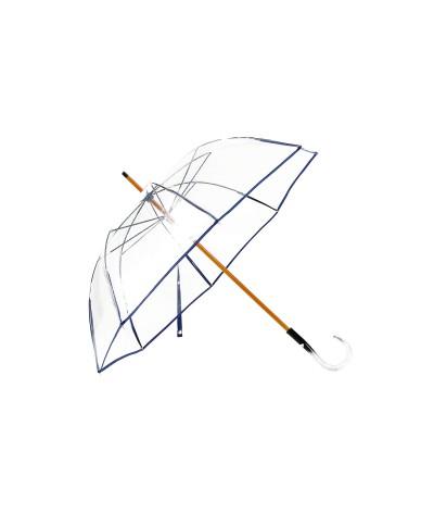 """→ Parapluie """"Transparent Classique"""" - Bleu Foncé - Maison Pierre Vaux Fabricant Français"""