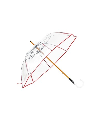 "→ Manual ""classic transparent"" umbrella - Red - Made In France by Maison Pierre Vaux"