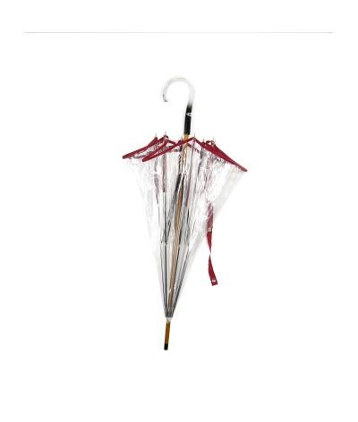 """→ Parapluie """"Transparent Classique"""" - Rouge - Maison Pierre Vaux Fabricant Français"""