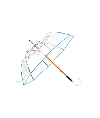"→  Manual ""classic transparent"" umbrella - Blue - Handcrafted in France by Maison Pierre Vaux"