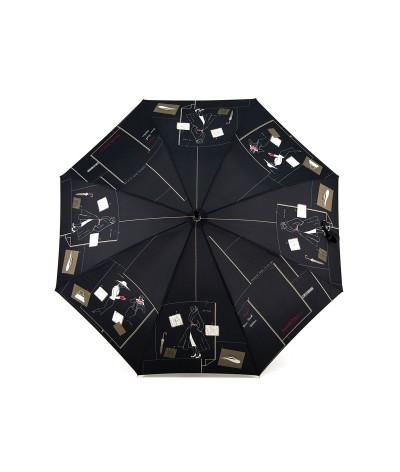 "→ Black ""New Wave Umbrella"" - Long Manual - French Umbrella Manufacturer Maison Pierre Vaux"