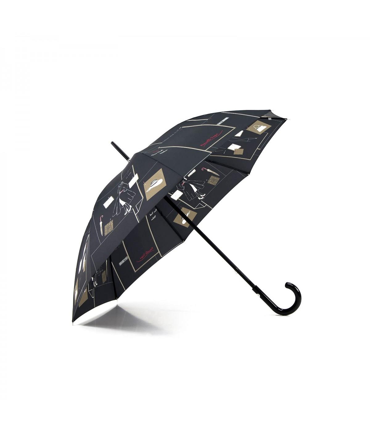 """→ Parapluie """"Nouvelle Vague Long"""" - Noir - Parapluie pas Cher pour Femme"""