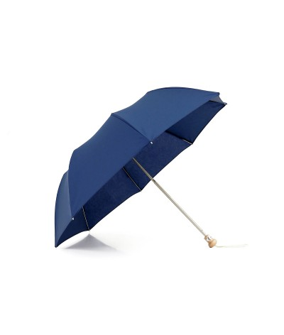 "→ Parasol ""Folding Light Cotton"" - Navy handcrafted in France By the French Umbrellas Manufacturer Maison Pierre Vaux"