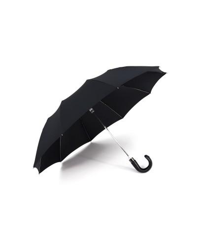 """→ Parapluie """"Mini Cuir Automatique (10 baleines) """" - Noir - Made in France"""