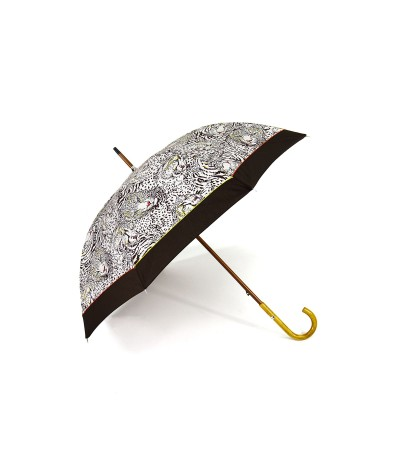 → Umbrella - Ines the Tigress - Tiger Print - Long manual Handcrafted in France by Maison Pierre Vaux