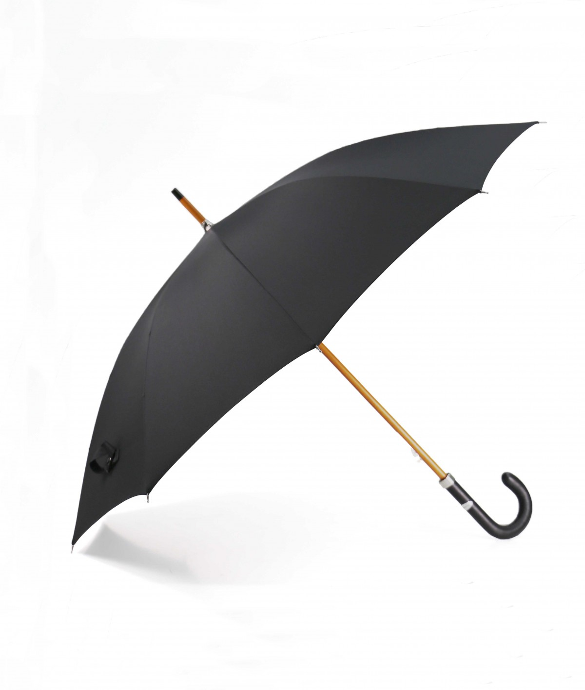 "→ ""Chic Leather"" Umbrella Black - Handcrafted by the French Umbrellas Manufacturer Maison Pierre Vaux"