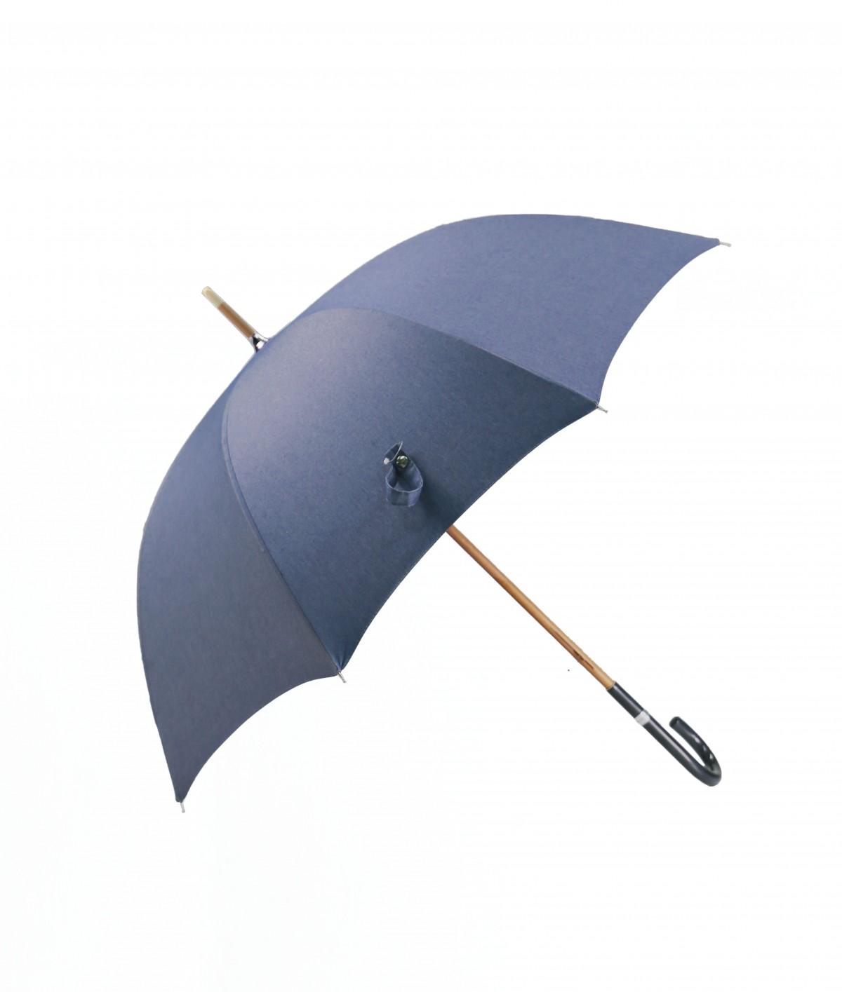 """→ Parapluie - Le """"Denim 01"""" Classique - Parapluie Long en tissu jean's - Made in France - Maison Pierre Vaux"""
