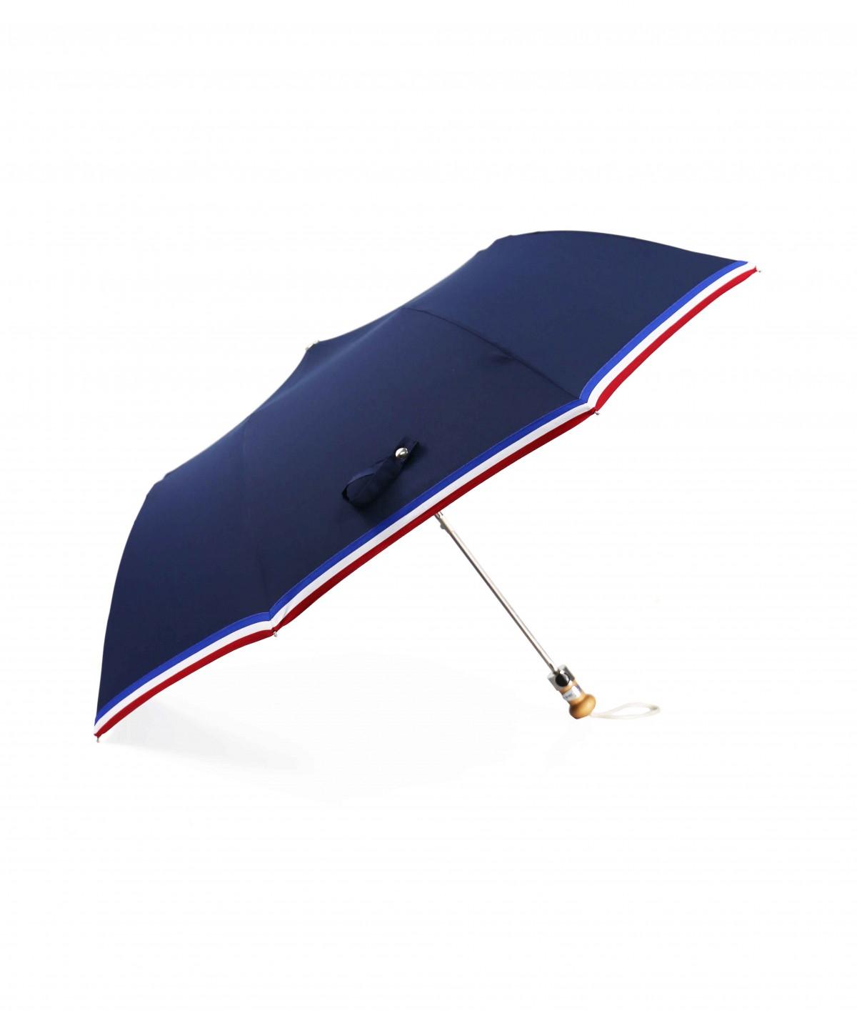 """→ Parapluie  """"Le Made in France"""" Marine - Pliant automatique - Fabriqué à la Main dans le Jura"""