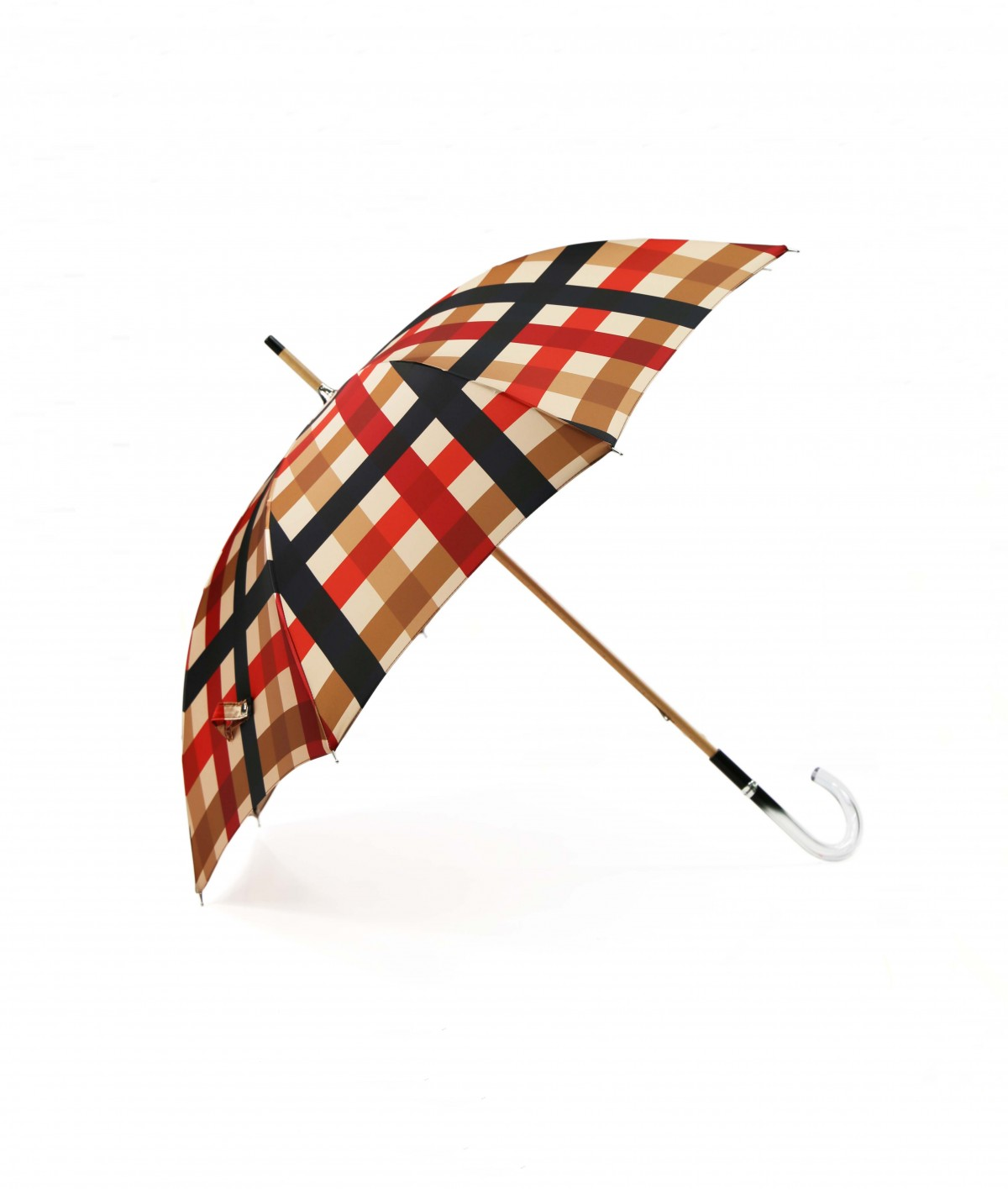 → Fancy Printed Satin Umbrella - Long Manual N°2 - Made in France by Maison Pierre Vaux French Umbrella Manufacturer