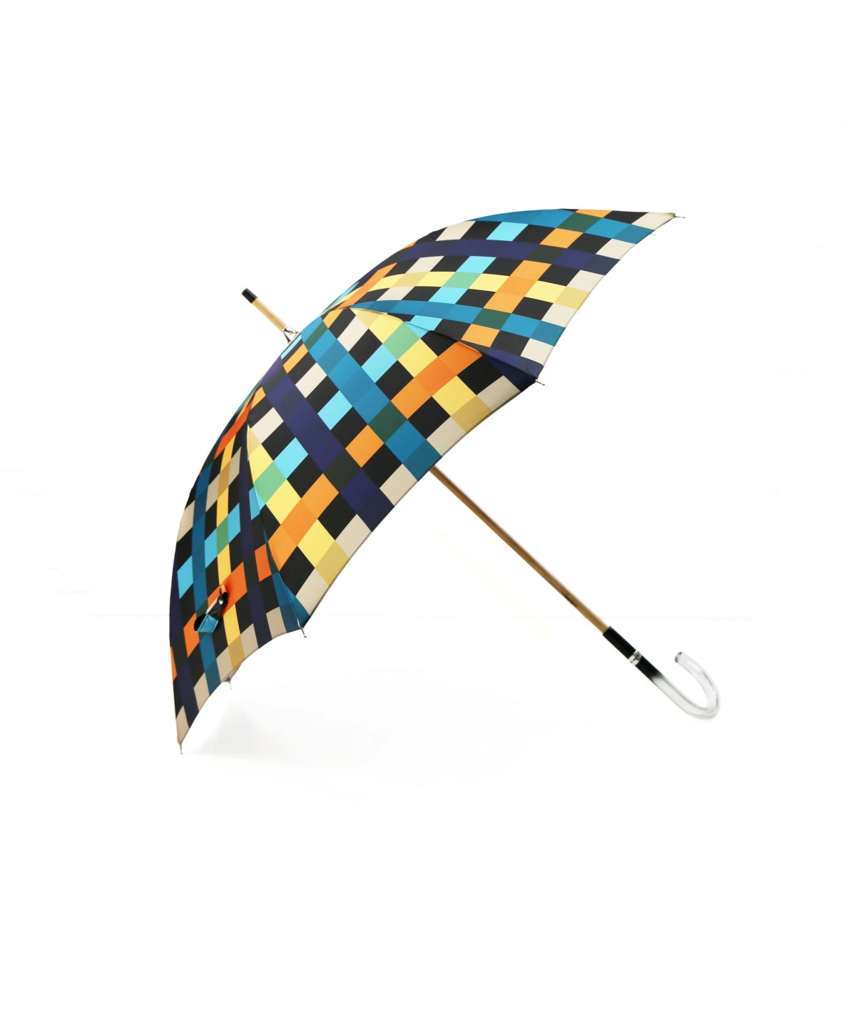 → Fancy Printed Satin Umbrella - Long Manual N°3 - Made in France by Maison Pierre Vaux French Umbrella Manufacturer