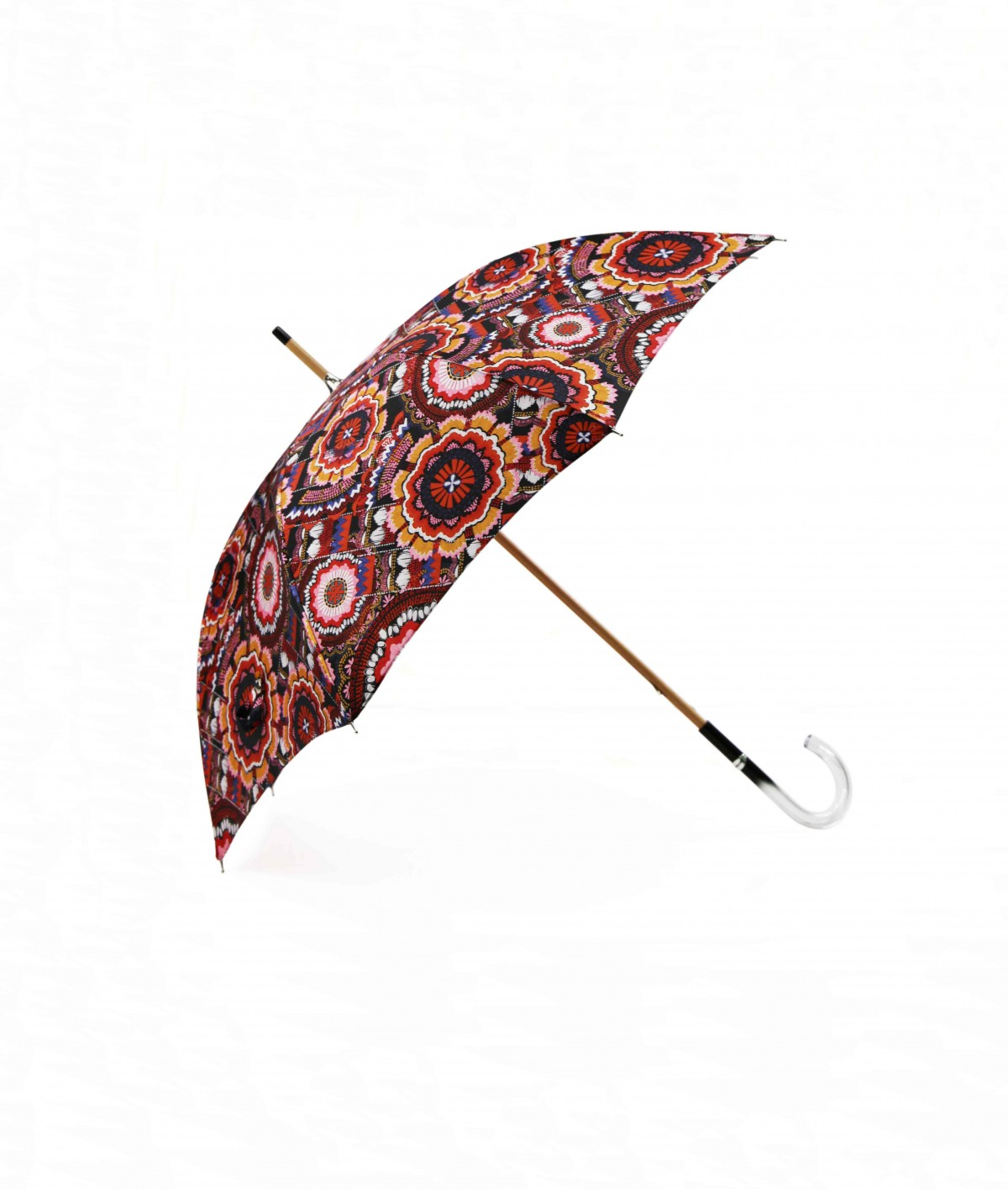 → Fancy Printed Satin Umbrella - Long Manual N°10 - Made in France by Maison Pierre Vaux French Umbrella Manufacturer