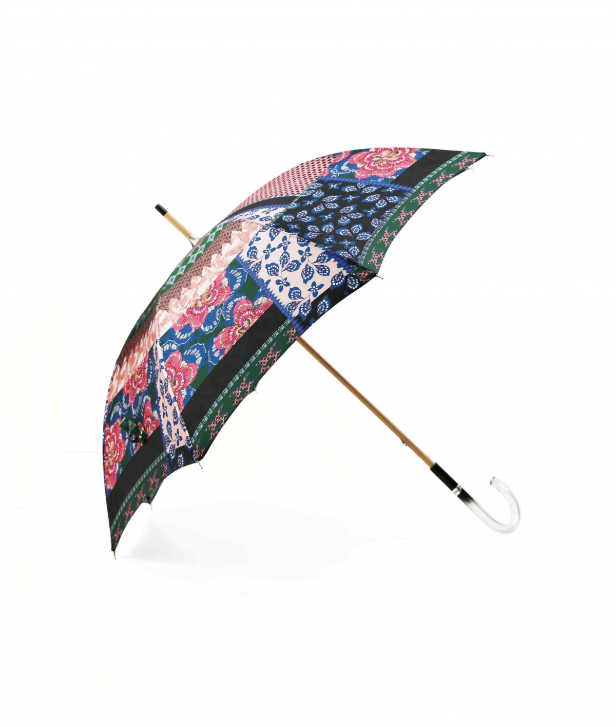 → Fancy Printed Satin Umbrella - Long Manual N°6 - Made in France by Maison Pierre Vaux French Umbrella Manufacturer