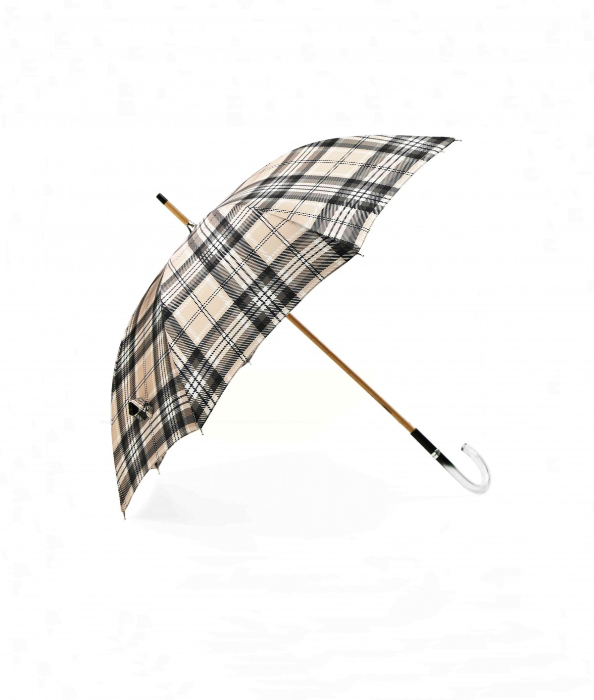 → Fancy Printed Satin Umbrella - Long Manual N°8 - Made in France by Maison Pierre Vaux French Umbrella Manufacturer