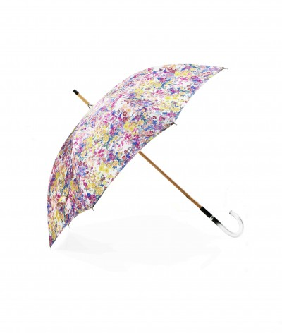→ Fancy Printed Satin Umbrella - Long Manual N°14 - Made in France by Maison Pierre Vaux French Umbrella Manufacturer