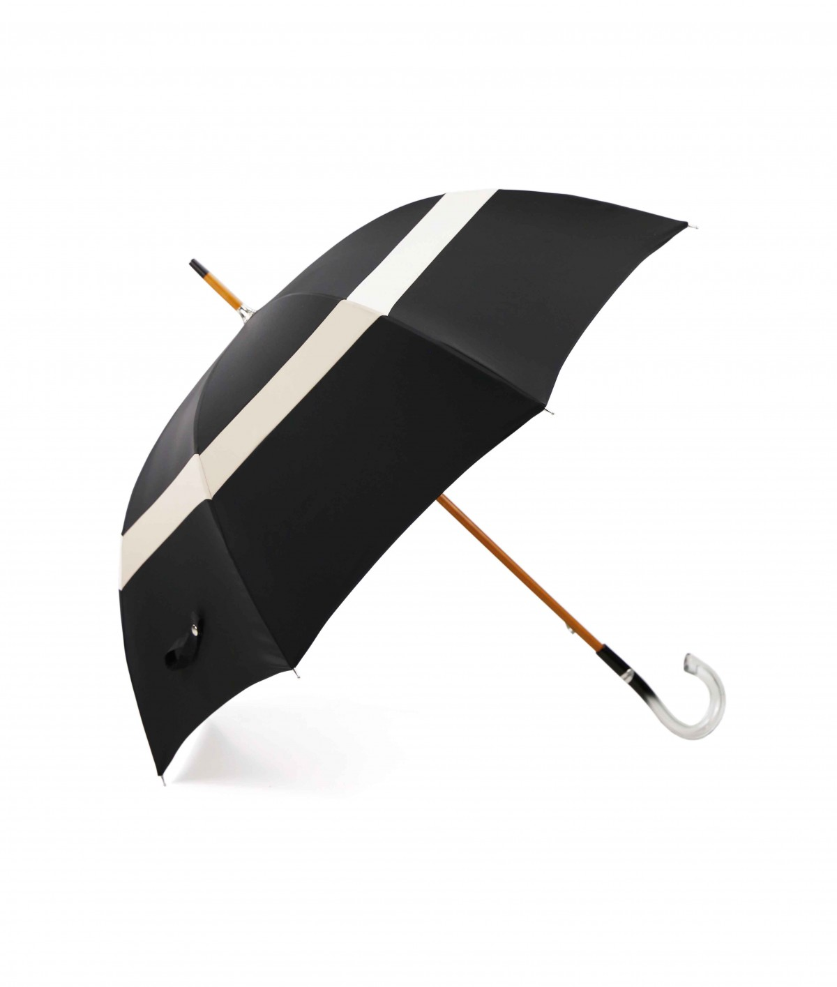 → Black Umbrella with its Two-Tone Band - White / Beige - Made in Fran ce by Maison Pierre Vaux Umbrella manufacturer